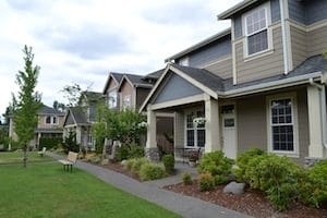 At Villages at South Hill, homes have upscale features and low maintenance lawns for retirees and active young families.