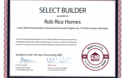 Rob Rice Homes Wins Award for Outstanding Home Building
